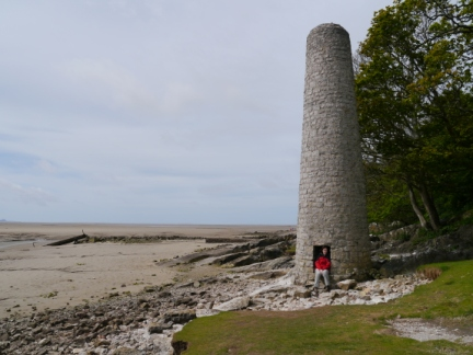 Lisa by the old smelt chimney at Brown's Houses
