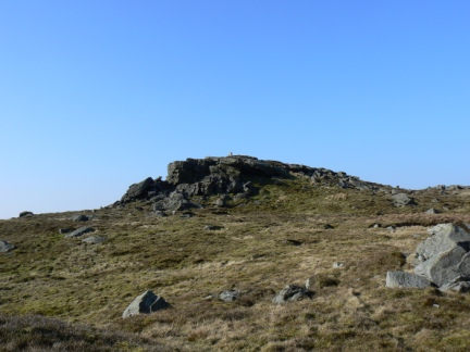 Looking up at the trig point on Bowland Knotts