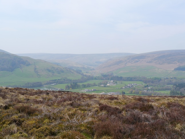 The hazy view of the Langden valley from Hodder Bank Fell