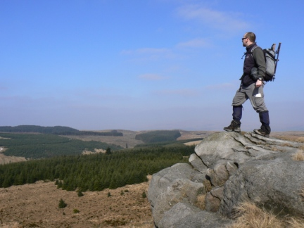 Posing on one of the outcrops on Whelpstone Crag
