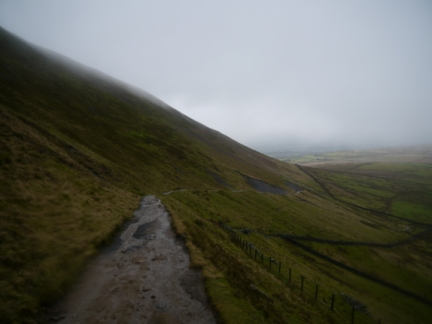 The slanting path I used to come off Pendle Hill