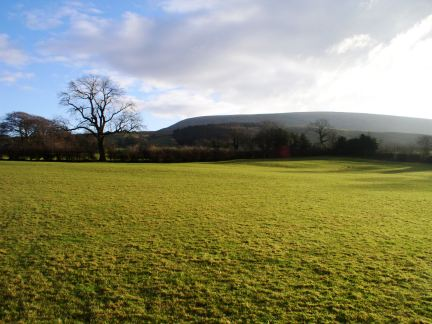 Looking back at Pendle Hill from the fields above Downham