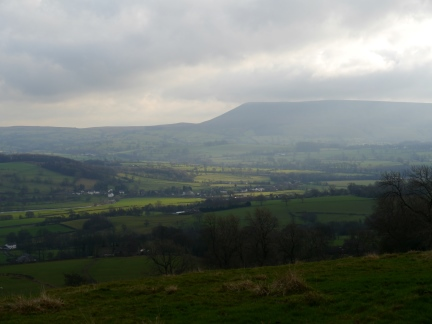 Pendle Hill and the Ribble Valley from above Rodhill Lane