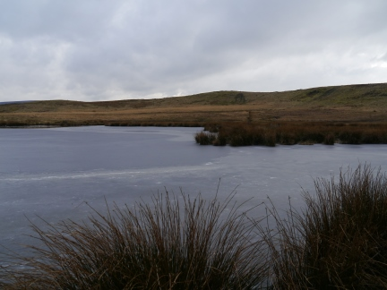 The surface of The Tarn was largely frozen