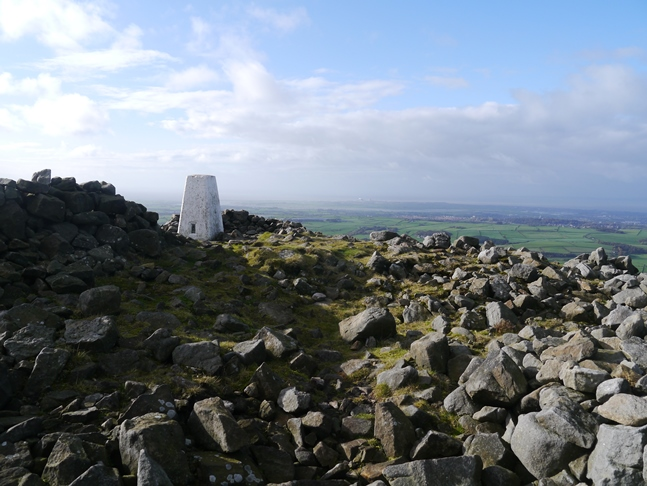 The trig point on the summit of Clougha Pike
