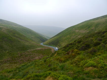 Looking down to the road as it crosses the Trough of Bowland