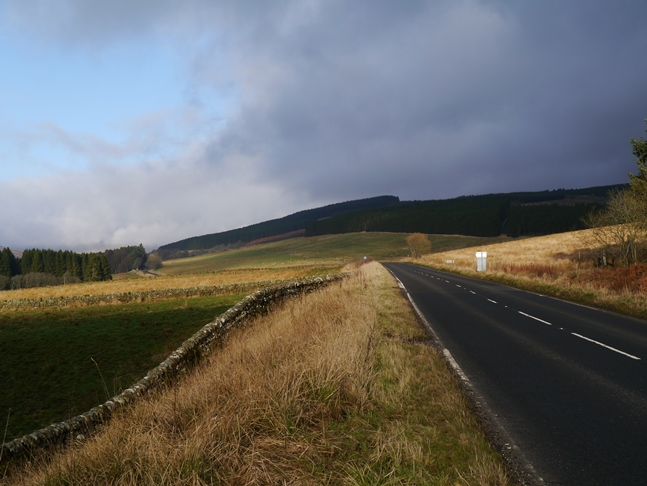 Heading along the A68 from Byrness to Catcleugh Reservoir