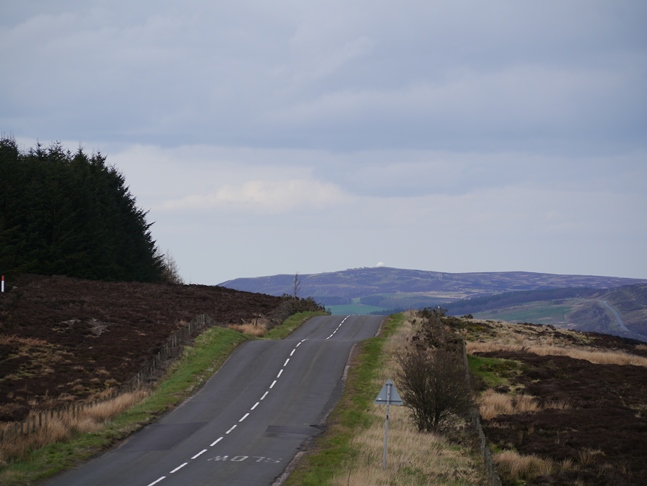 Looking along the B6341 towards Alnwick Moor