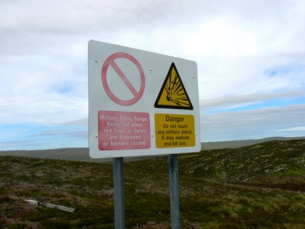 One of a number of signs warning of the nearby Otterburn range