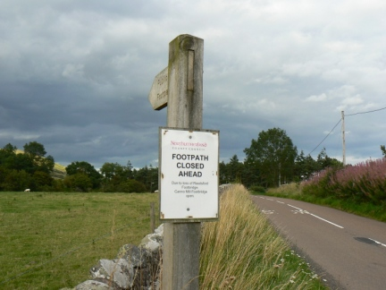 The 'Footpath Closed' sign near Westnewton