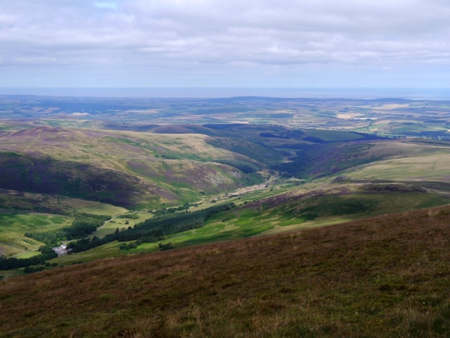 The superb view of the Harthope Valley from Hedgehope Hill