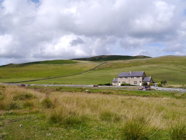 Two of the houses at Shillmoor with Shillhope Law behind