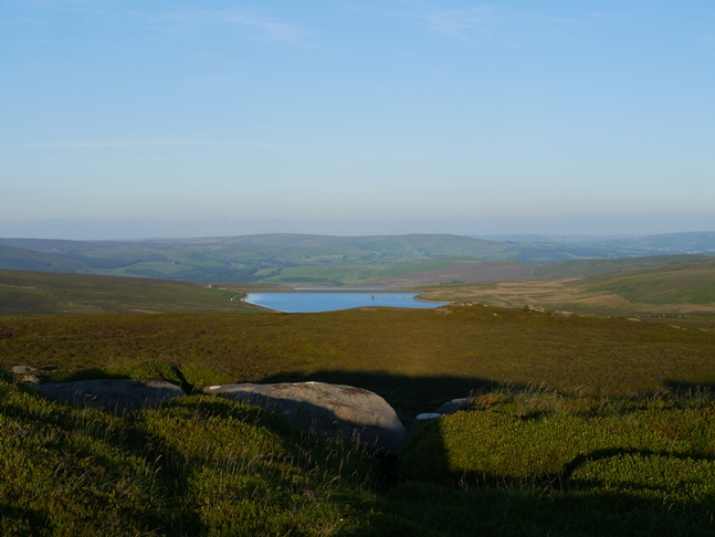 Looking down on the Barden reservoirs from Cracoe Fell
