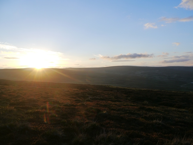 The sun going down over Barden Moor