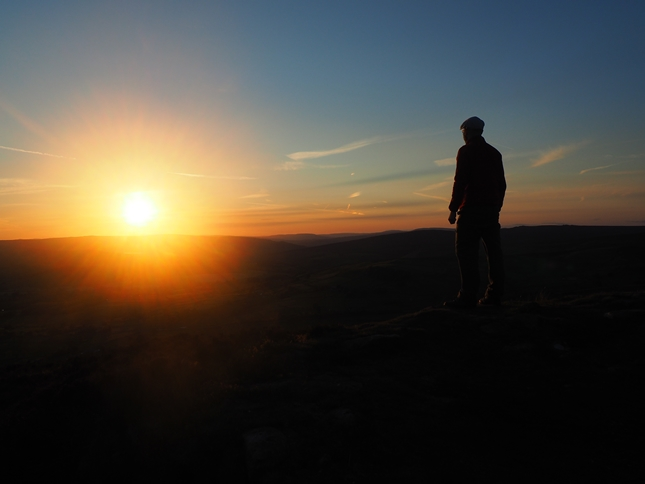 Enjoying the sunset from Beamsley Beacon