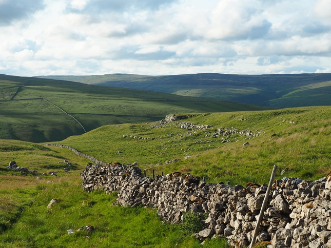 Following the wall to the Monk's Road with Birks Fell in the distance