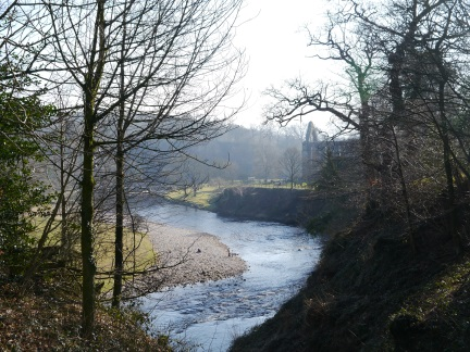 Looking along the river to Bolton Abbey