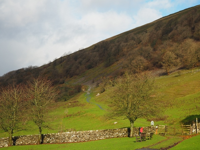 The start of the path up Buckden Rake from the car park in Buckden