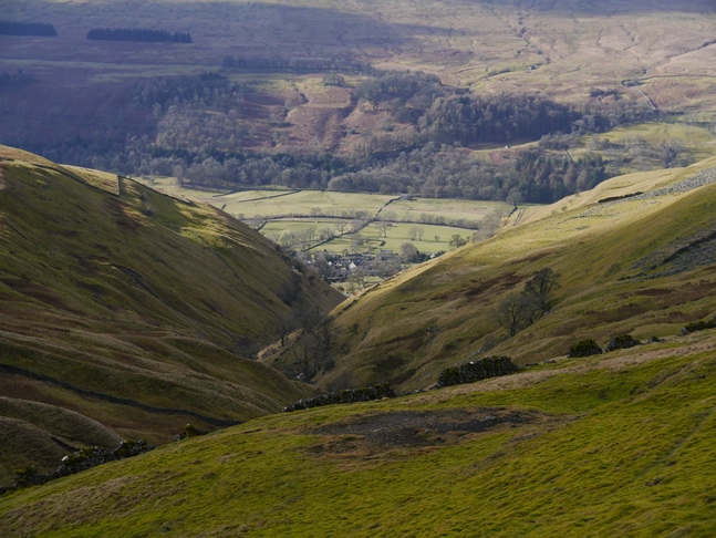 The view back down to Buckden from above the mine