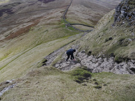 My step-father David climbing Pen-y-Ghent