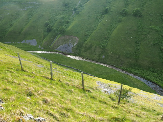 Looking down into Cowside Beck