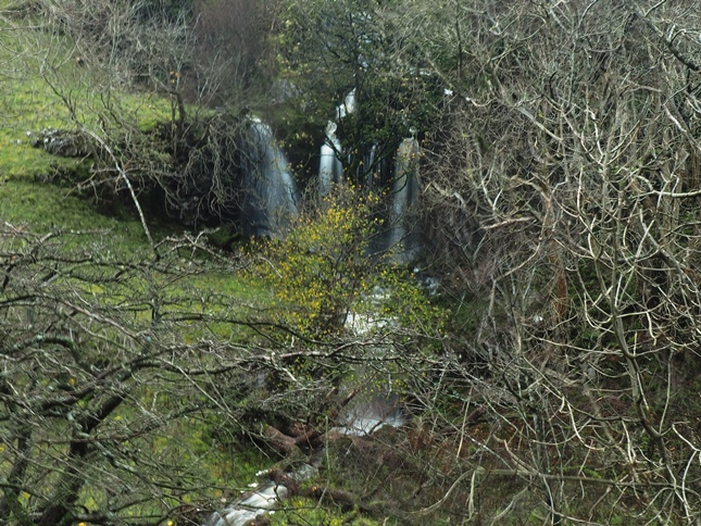 A tantalising glimpse of a waterfall on the other side of Cray Gill
