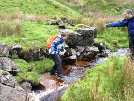Jo crossing Haskhaw Gill