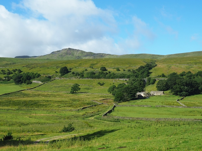 The view of Wild Boar Fell's Nab and the farm at Deep Gill from the start of the walk