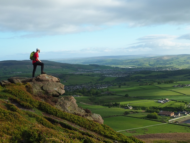 Enjoying the view over Embsay and Skipton from Embsay Crag