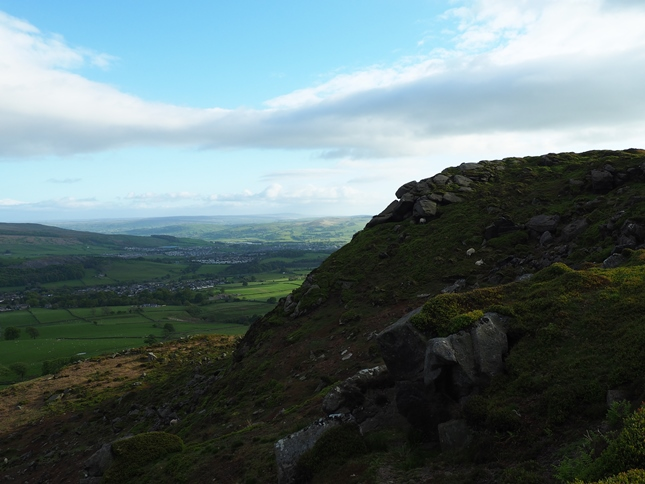Embsay Crag with Skipton in the distance