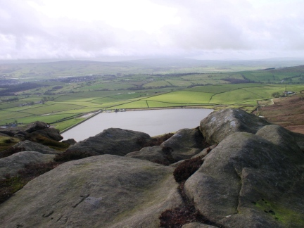 Looking down to Embsay Reservoir from Embsay Crag