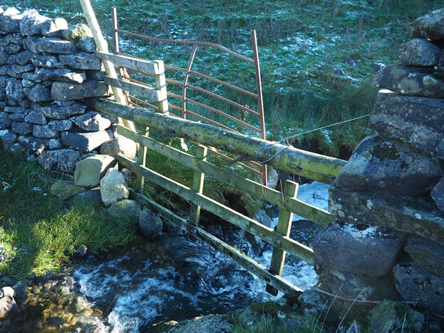 The gate where I crossed the wall and stream to access the Calton trig point