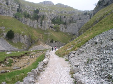Mum and David walking towards Gordale Scar