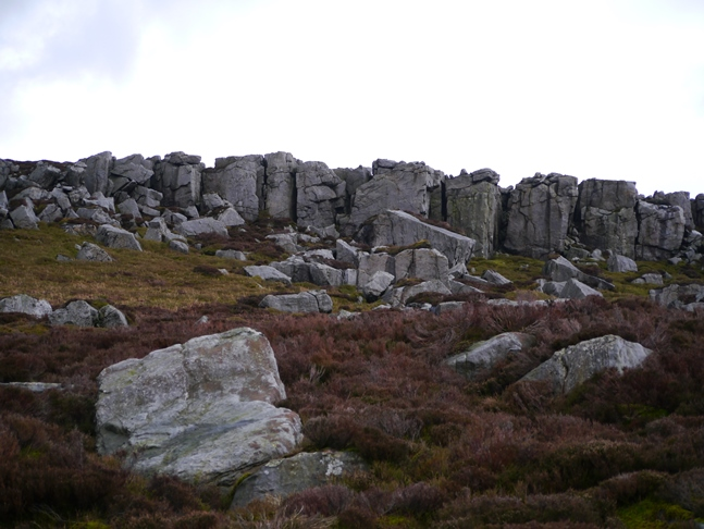 Looking back up at Great Wolfrey Crag