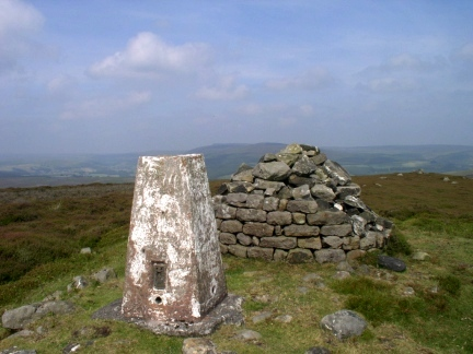 The cairn and trig point on Halton Height