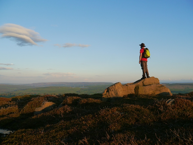 Posing on an outcrop of rock on Halton Height
