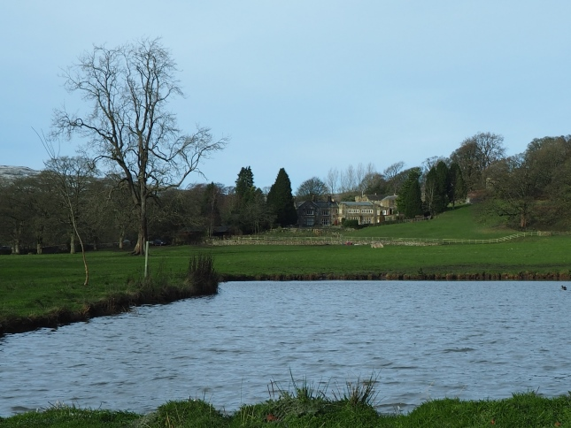 Looking across a pond back towards Hanlith Hall