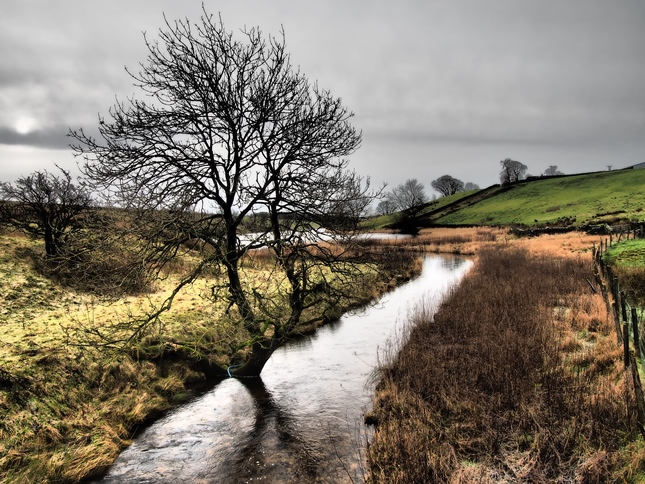 Hetton Commmon Beck as it flows into Winterburn Reservoir