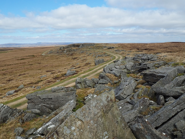 The quarry track below gritstone outcrops on High Greygrits