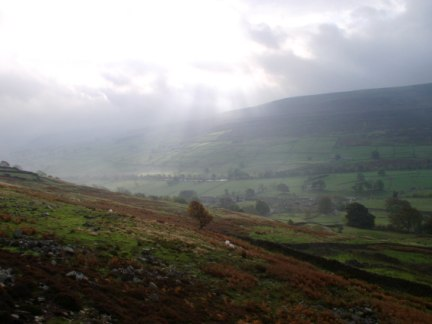 Looking across Swaledale to High Harker Hill
