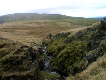Looking down unnamed gill that leads up to Holme Knott