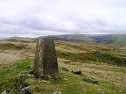 The trig point on Holme Knott backed by Middleton Fell