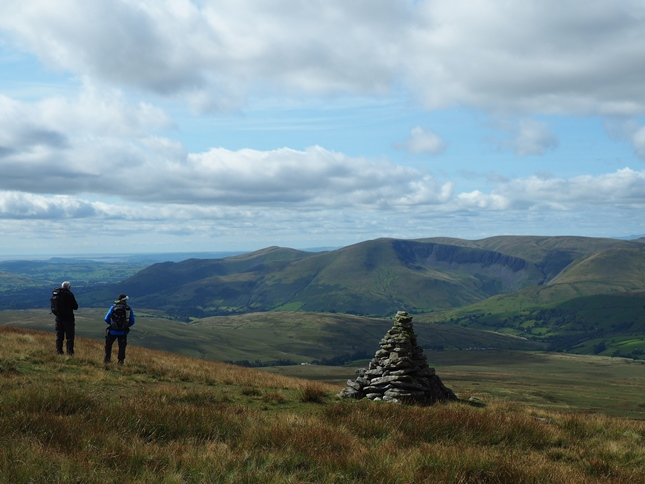 The Howgill Fells from one of the cairns on the western side of Wild Boar Fell's summit plateau
