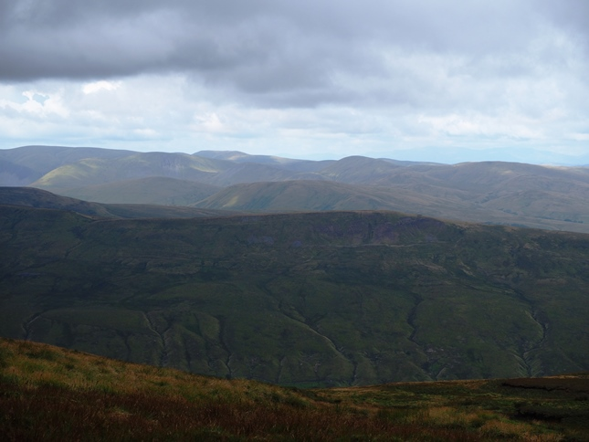 Looking across Mallerstang and the top of Little Fell towards the Howgill Fells