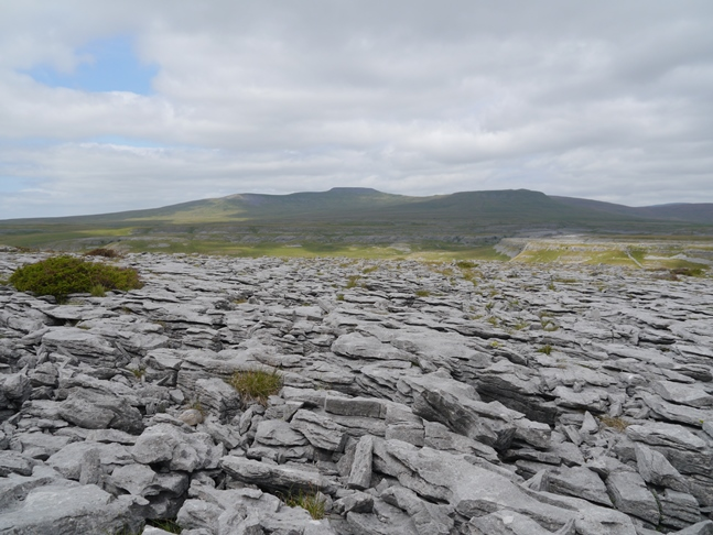 Ingleborough and a fine example of Moughton's limestone pavement