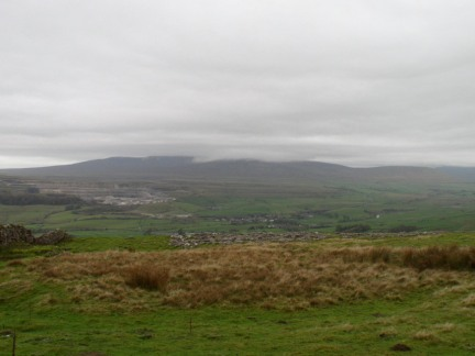 Looking across Ribblesdale to a cloud covered Ingleborough