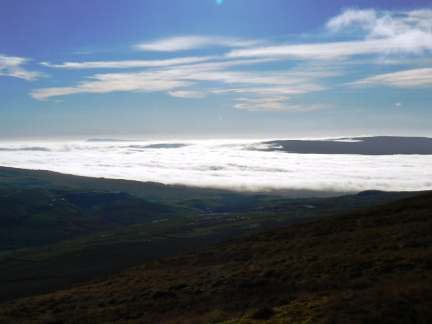 A sea of cloud covered most of Pendle and Bowland to the south
