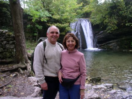 Mum and David in front of Janet's Foss