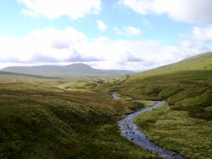 Looking back down Little Dale Beck towards Ingleborough