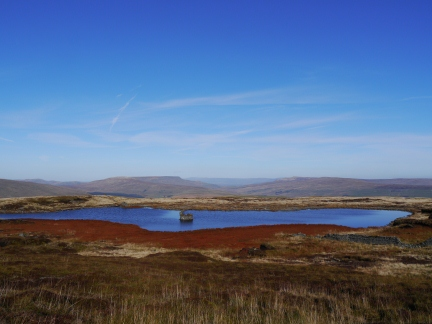 Little Widdale Tarn with Wild Boar Fell and High Seat in the distance